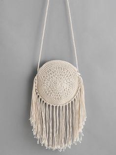 Shop fringe round shaped straw crossbody bag online shein offers fringe round shaped straw crossbody bag more to fit your fashionable needs bagsonline Online shopping for Fringe Round Shaped Straw Crossbody Bag from a great selection of women's fashion cl Crochet Handbags, Crochet Purses, Crochet Bags, Crochet Clutch, Bag Quilt, Macrame Purse, Crochet Purse Patterns, Bag Patterns, Knitting Patterns