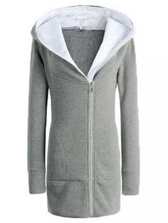 Slim Women Pure Color Long Sleeve Zipper Hood Coat