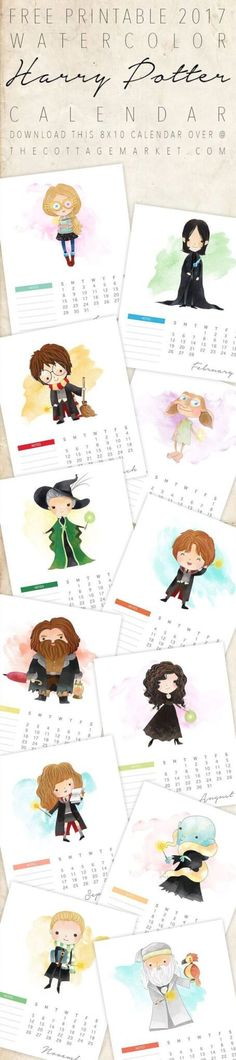 FREE PRINTABLE 2017 HARRY POTTER CALENDAR
