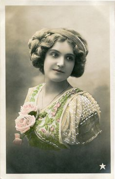 Original French vintage hand tinted real photo postcard - Lady with roses on her dress - Victorian Paper Ephemera by SistersScrapbooking