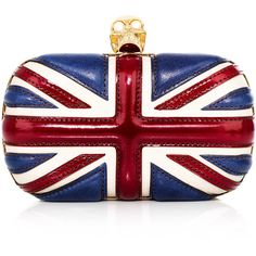 Alexander McQueen Union Jack box clutch ($1,546) ❤ liked on Polyvore