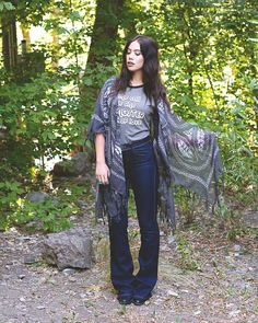 Layer a Tie Dye Look Kimono over a graphic t-shirt and jeans