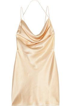 SAINT LAURENT Silk-Satin Mini Dress. #saintlaurent #cloth #dresses