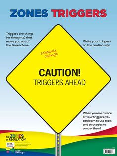 """Zones Triggers (dry erase) – Poster is a companion product to the self-regulation curriculum The Zones of Regulation®, by Leah Kuypers, and coordinates with Lesson 9 """"Caution! Triggers Ahead"""" in the book. The poster is designed as a tool adults can use to help students gain awareness of their personal triggers that lead them to the Yellow or Red Zone."""