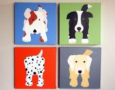 Dog painting. Nursery wall art, baby nursery décor, puppy dog portrait. Nursery canvas painting. Childrens art by WallFry.. $180.00, via Etsy.