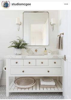 cottage bathroom design with herringbone tile floor and white bathroom vanity, modern farmhouse master bathroom design, neutral bathroom design ideas, Custom vanity with marble countertops California Traditional Interior Design Beautiful Bathrooms, Modern Bathroom, Small Bathroom, Single Bathroom Vanity, White Bathrooms, Master Bathrooms, Minimalist Bathroom, Elegant Bathroom Decor, Navy Bathroom