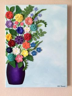 Flores de ganchillo y pintura acrílico lienzo pared Crochet flowers and acrylic painting canvas wall This image has get Crochet Wall Art, Crochet Wall Hangings, Crochet Home, Diy Crochet, Diy Wall Painting, Acrylic Painting Canvas, Fabric Painting, Acrylic Art, Yarn Flowers
