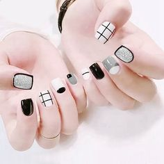 Wholesale Fine Nail Plaid Nail Patch 24 Nail Patches pc) from Our website with high quality and fast shipping worldwide. White Nail Art, White Nails, Nail Art Hacks, Nail Art Diy, Stylish Nails, Trendy Nails, Nail Patch, Plaid Nails, Dipped Nails