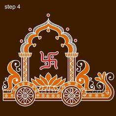 This page provides Bengali Alpana Designs with title Ratham Rangoli 16 for Hindu festivals.