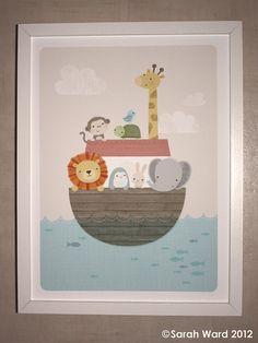 Noah's Ark Children's Print by gingerbred on Etsy, $29.00
