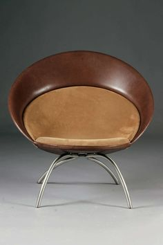 Nanna Ditzel; Leather, Suede and Chromed Steel 'Icon' Chair for Fredericia Furniture, 2002.