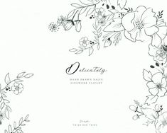 Delicately - Fine Line Hand Drawn Floral Clipart. Perfect for wedding stationery, logo and branding design. Illustration Simple, Floral Illustrations, Botanical Illustration, Fine Stationery, Wedding Stationery, Art Floral, Page Borders Design, Lettering, Typography