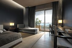 Interior design service | Armani/Casa - bed room w linear table