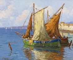 by Georgy Alexandrovich Lapchine Sotheby's Auction Oct 9 Tape Wall Art, Renoir Paintings, Boat Painting, Photo Reference, Fishing Boats, Sailing Ships, Modern Art, Fine Art, Landscape