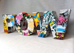 Handmade Initial Letter Comic Book POW (Home decoration) by RoseberryStore, £18.00
