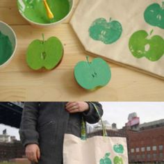 Apple prints  Fun to make this and take to the apple orchard or pumpkin patch this Fall.  It can be a farmer's market bag too. @Melissa Pontow & @Tiffaney Kraemer Wegand , great idea for one of the kids' days @ the market!