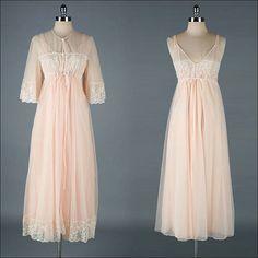 Vintage peach peignoir set,,,,,,,,,,,,,,,,,Iv always Loved this Style,,.Beautiful Feminine Gown set,,,,,,
