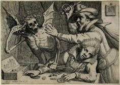 """Death, with snake hair and wings, points an arrow at a woman"", by Werner van den Valckert, Etching c.1610-1620"