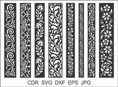 8 Border Cutting File For Laser Cnc & Plasma Cricut Floral image 6 Wood Panel Walls, Panel Wall Art, Decorative Metal Screen, Jaali Design, Living Room Partition Design, Cnc Cutting Design, Laser Cut Stencils, Border Embroidery, Room Screen