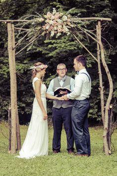Outdoor Rustic Wedding Ceremony under Trellis