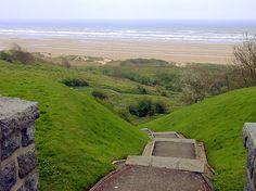 Trail from the American Cemetery to Omaha Beach--imagine the American soldiers hitting the beach and taking that long dangerous climb up the ridge.