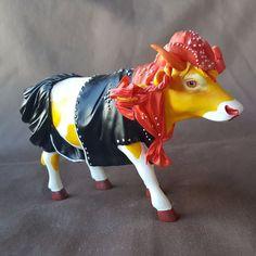 "Cow Parade Moo'velous Miss Rhinestone Cow Girl 2002 6"" Resin Cow Figurine 7252"