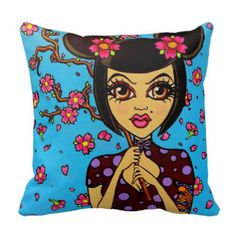 "Pinup tattoo art decorative throw pillow by Orange County California tattoo artist ""Skinderella"