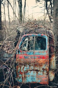 & Time& any iron mass will eventually convert entirely to rust and disintegrate Abandoned Buildings, Abandoned Houses, Abandoned Places, Vintage Trucks, Old Trucks, Mustang, Pompe A Essence, Rust In Peace, Rusty Cars