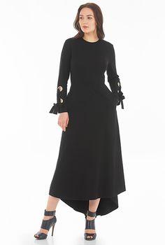 I <3 this Lace-up cuff cotton knit maxi dress from eShakti