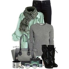 Mint, grey and black look good together