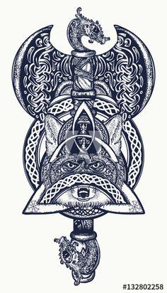 Thor's Hammer tattoo. Axe viking, warrior fox, celtic style