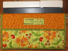 #Quilted Sewing Machine Caddy #Organizer Orange Daisy by minimade  #etsyseller #thehotbobbin