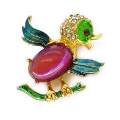 Vintage Gold Tone Dragons Breath Glass Bird Brooch   Clarice Jewellery