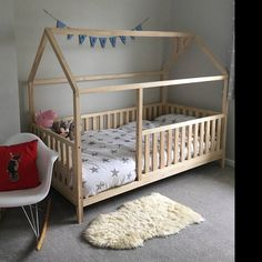 Toddler bed Play house bed frame Children bed Bunk bed Home bed Wood house Floor bed Teepee bed Wooden bed Wood house Montessori bed Gift