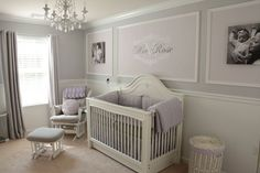 Elegant shades of lavender with gray for a beautiful baby girl nursery.