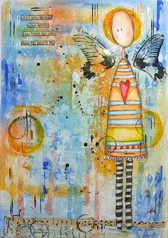 """""""until you spread your wings you have no idea how far you'll fly"""" - wonderful art journal page by kate crane"""