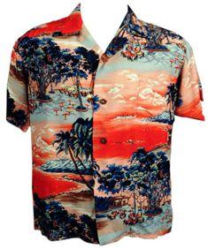 NWT COTTON TIE DYE 1940s STYLE HAWAIIAN SHIRT #2 TROPICAL ISLAND PRINT S or M