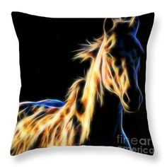 Horse fractal digital art throw pillow by Tracey Lee Art Designs Pillow Sale, Poplin Fabric, Black Backgrounds, Fractals, Art Designs, Digital Art, Horses, Throw Pillows, Stylish