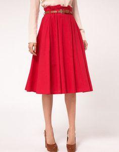 ASOS Linen Midi Skirt With Belt #red