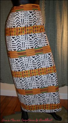 NEW! This one is simple:)  African Mud Cloth & Kente Look Long Wrap by SunsFlowerCreations, $28.00