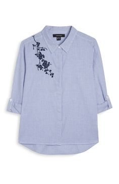 Primark - Camisa bordada a rayas Trajes Business Casual, Shirt Transformation, T Shorts, Cool Outfits, Fashion Outfits, Shirt Embroidery, Couture Details, Winter Dresses, Ladies Dress Design