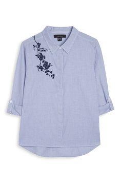 Primark - Camisa bordada a rayas