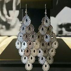 """Silver Tone Filigree Chandelier Earrings Like New - Silver tone filigree chandelier fish hook earrings.  4"""" long, 2.5 """" wide, weighs 1/2 of an ounce. Unknown  Jewelry Earrings"""