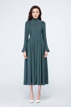 maxi length dress for women with long sleeve 1701 Spring Dresses, Day Dresses, Evening Dresses, Girls Dresses, Sleeves Designs For Dresses, Dress Neck Designs, Modest Fashion, Fashion Outfits, Linen Dresses