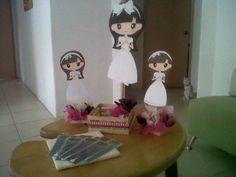 Centros de mesa primera comunión para niña, en colores rosa mexicano y café!!!