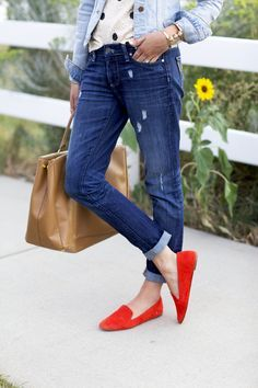 628006efa787d0 Denim on Denim with polka dots and a bright pop of red! Red Loafers