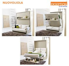 In the day configuration , it is a wall furniture with front sofa and bookshelf that, through the above described mechanism, transforms for the night into a double bed always ready.