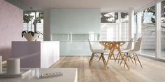 White Minimalist Interior with Dining Table - x - Peel and Stick Wall Decal by Wallmonkeys Minimalist Interior, Minimalist Living, Minimalist Design, Modern Interior, Interior Design, Interior Minimalista, Sol Pvc, Vinyl Plank Flooring, Vinyl Planks