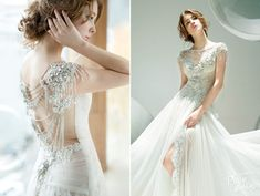 The beautiful gown from Sophie Design is stylish and sophisticated, adorned with the most beautiful crystal details!