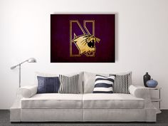 Northwestern wildcats vintage style Canvas Print, vintage football decor, college football logos, apartment decorating ideas, wildcats , NU by DecorJay on Etsy
